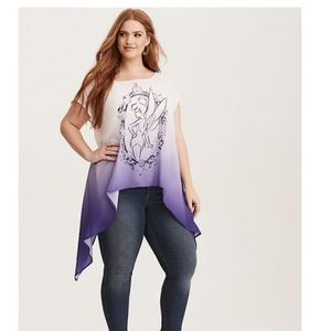 Torrid Disney Sz 5X 28 purple Tinkerbell tunic top